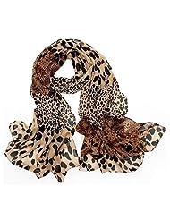 Rokou Women's Soft Chiffon Leopard Shawl Scarf Wrap Pashmina Stole Coffee Color