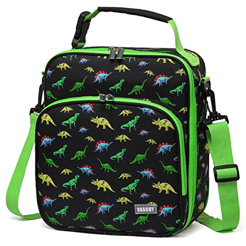 (Lunch Boxes Bag for Kids,VASCHY Reusable Lunch Box Containers for Boys and Girls with Detachable Shoulder Strap, Insulated Lunch Coolers for School Cute Dinosaur)