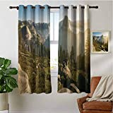PRUNUSHOME Morning Dome Sunrise Bedroom Blackout Curtains, Thermal Insulated Window Treatments Blackout Curtain Panels (Set of 2 Panels,42 by 72 Inch)