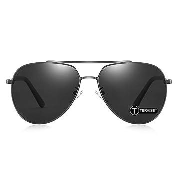 TERAISE Gafas de sol retro polarizadas para hombre Protección UV400 Gafas de sol ultra ligeras con estuche plegable