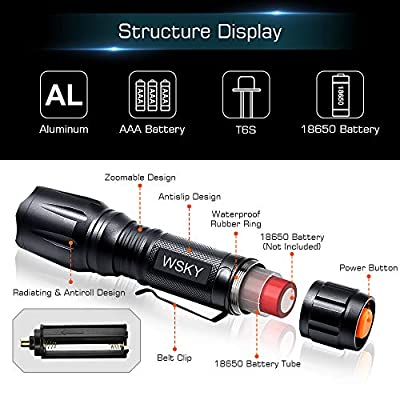 Wsky LED Tactical Flashlight, Best S2000 Water Resistant Work Light Flashlight with 5 Modes, Zoomable, Perfect for Camping Biking Hiking Home Emergency or Gift-Giving (Batteries Not Included)