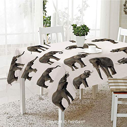 AmaUncle Party Decorations Tablecloth Group of Elephants Tusk Ear Large Wild Life Jungle Mammal Forest Decorating Resistant Table Toppers (W60 xL84)]()