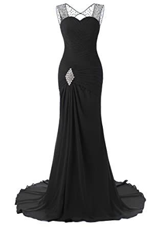 JYDress Womens Beading Chiffon Formal Prom Dresses Sweep Train Evening Gown