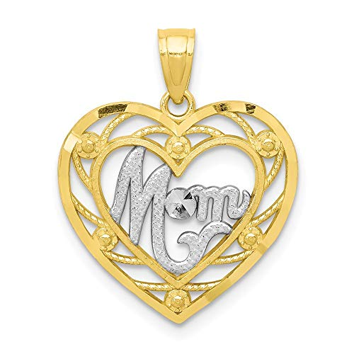 - 10k Yellow Gold Mom Heart Pendant Charm Necklace Special Person Fine Jewelry Gifts For Women For Her