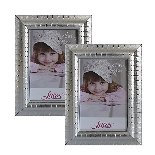 Lilian Silver Fine Matte Frosted Stripes Collage Photo Frame 5x7Inch - Made to Display Pictures 4x6 Inches with Mat or 5x7 without Mat - Wall Mounting Material Included(2-Pack)