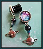 00g space - Spaceadelic Galaxy stretched dangle planet earrings space EAR PLUGS you pick the gauge size 2g, 0g, 00g, 7/16