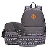 Hynes Eagle Unisex Casual Backpacks Set 3 Pieces Shoulder School Bags Gray