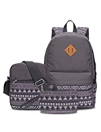 Hynes Eagle Lightweight School Backpacks 3 Pieces Kids Book Bags Grey