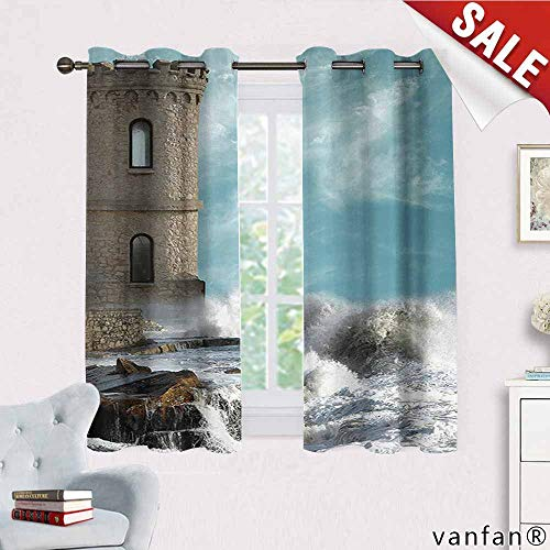 (Medieval Decor Collection Curtain Blackout Liner,Old Middle Age Tower by The Sea Renaissance Buildings Dreamy Princess Home Print Curtains to Keep Out Heat,Cream Blue White W72 x L45)