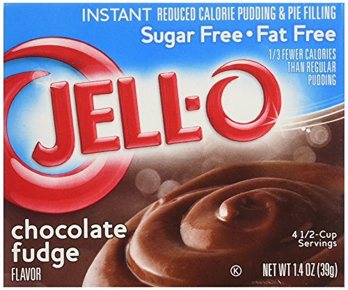 Jell-O Sugar-Free Instant Pudding & Pie Filling, Chocolate Fudge, 1.4 oz Low Fat Chocolate Pudding