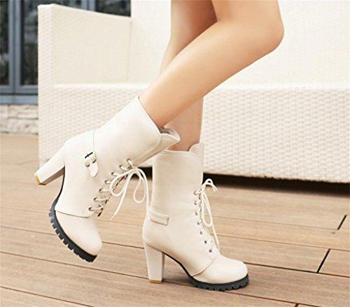 Vintage Kitzen de Superior Botas Tacón la Mujeres Alto Caballero la Parte de Fiesta Ocio White Correas Tobillo de de Zapatos Plataforma de Bomba TrrAwqE74a