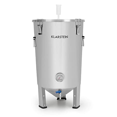 Klarstein Gaerkeller - Tanque de maceración y caldera de fermentación, 30 litros, Acero inoxidable 304, Termómetro hasta 40 °C, Tapa con 4 ganchos de ...