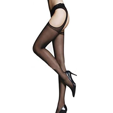 Malloom Womens Sexy Jacquard Pierced Nonslip Convenient Open Stockings Racy P..