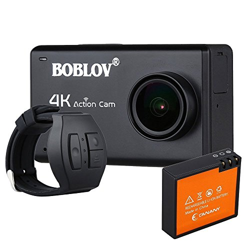 BOBLOV 12MP 4K HD 1080P Action Camera Touch Screen 170° Wide Angle Water Proof Camcorder 30M (Camera+1 Extra battery+Remote control) Action Cameras