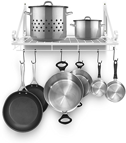 Sorbus Pots and Pan Rack - Decorative Wall Mounted Storage Hanging Rack - Multipurpose Wrought-Iron shelf Organizer for Kitchen Cookware, Utensils, Pans, Books, Bathroom (Wall Rack - White)