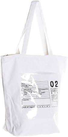 Hogar y Mas Bolsa Algodón con Cremallera, Gran Capacidad con Bolsillo Interno. Bolsas para Playa o Piscina 25X15X64 cm - Blanco: Amazon.es: Hogar
