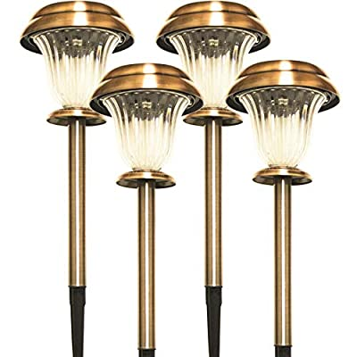 Sogrand Solar Lights Outdoor Pathway Stake Light Decorative Garden Path Copper Stakes Warm White LED Walkway Lighting for Yard Driveway Landscape 4Pack