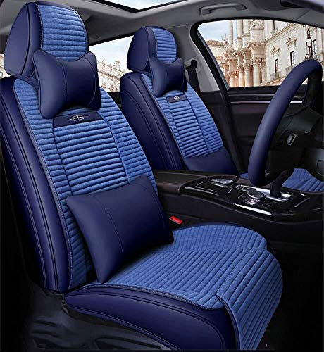 Full Set Universal 5 Seats Car PU Leather Car Seat Cushions Anti-Slip Suede Backing Universal Fit Car Seat Covers for Sedan SUV Seats (Color : Blue):