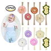 Prohouse 10PCS Baby Nylon Headbands Hairbands Hair Bow Elastics for Baby Girls Newborn Infant Toddlers Kids (10PCS Flower)