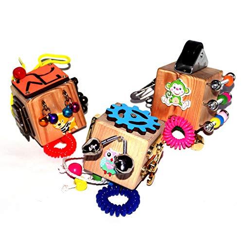 Juego de 3 cubos de agitación de viaje: actividad educativa para niños pequeños - Juego sensorial de Montessori para...