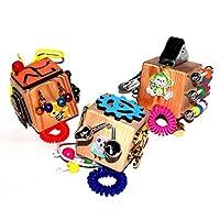 Juego de 3 cubos de agitación de viaje: actividad educativa para niños pequeños - Juego sensorial de Montessori para niños y niñas - juego de cerraduras y cerraduras de madera - tablero de desarrollo de habilidades motrices finas para niños