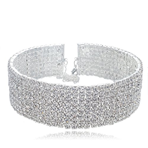 (VenFashion 8-Row Clear Austrian Rhinestone Crystal Silver Plated Alloy Choker Necklace Bridal Wedding Party Prom YT07)