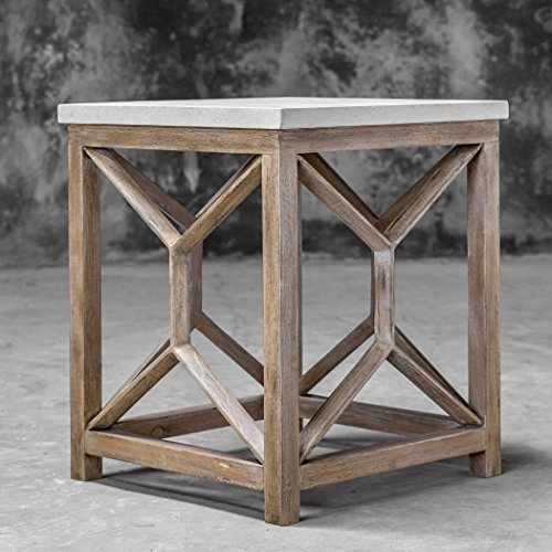 Editors' Choice: Uttermost Catali 22″ Square Stone Top End Table