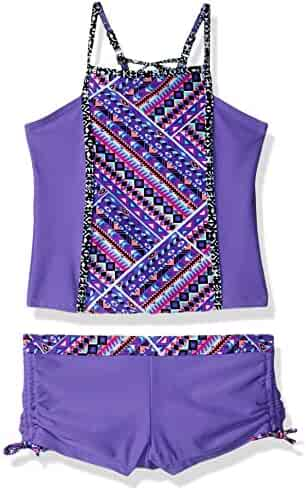 Free Country Big Girls' Square High Neck Tankini Set