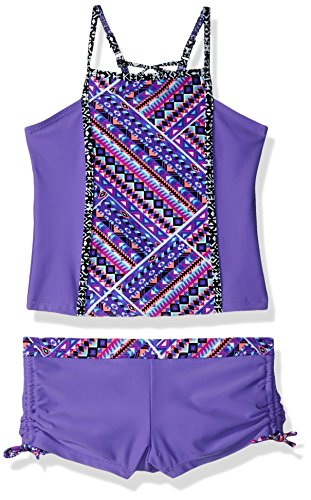 Free Country Big Girls' Square High Neck Tankini Set, Ultraviolet, 7