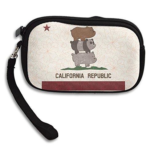 Retro California Republic Bear Cellphone Bag / Wristlet Handbag / Clutch Purse / Wallet Handbag With Wrist Band