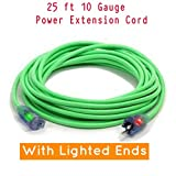 Century Contractor Grade 25' 10 Gauge Power Extension Cord 10/3 Plug,Outdoor Extra Heavy Duty Extension Cord - Professional Series - 3 Prong Extension Cord (25, green)
