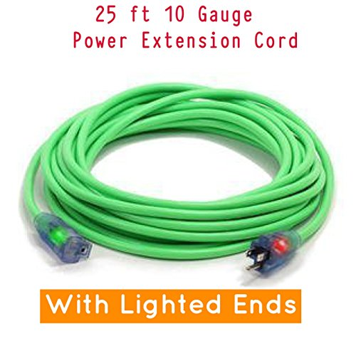 Century Contractor Grade 25 10 Gauge Power Extension Cord 10/3 Plug,Outdoor Extra Heavy Duty Extension Cord - Professional Series - 3 Prong Extension Cord (25 ft 10 Awg 100% copper, green)