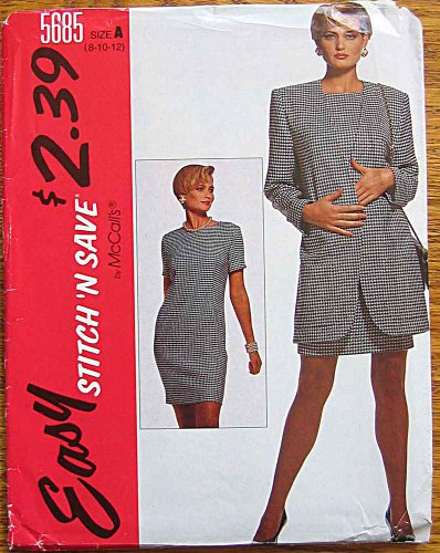 (Stitch 'n Save McCall's 5685 Sewing Pattern ~ Misses' Unlined Jacket and Chemise Dress, Sizes 8-10-12)