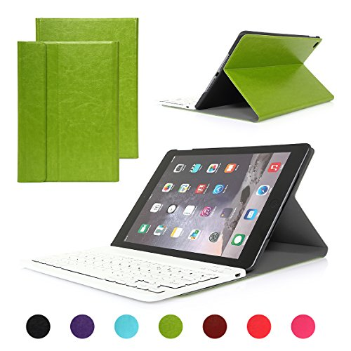 UPC 057184794270, iPad Air 2/iPad 6 Keyboard Case, Symbollife Green Folding PU Leather Folio Case Cover & Stand with Removable Bluetooth Keyboard For Apple iPad Air 2 (iPad 6th Gen) 2014 Version