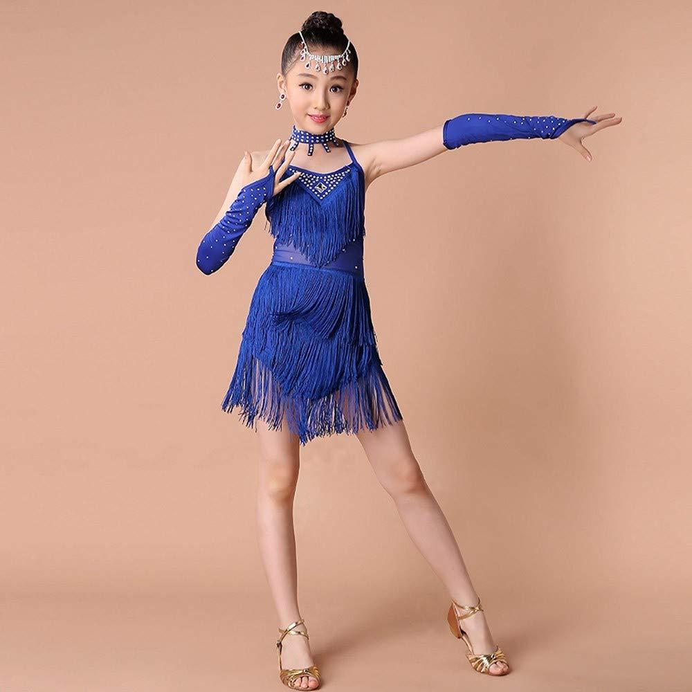 NIUQY Bambini Ragazze Concorrenza Moda Vestito Nappa di Perforazione Calda delle Ragazze Gonna di Ballo di Pratica Latina Manica Pantaloni di Sicurezza Quattro Insiemi Abito Catena