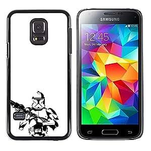 CASER CASES / Samsung Galaxy S5 Mini, SM-G800, NOT S5 REGULAR! / Minimalist B&W Storm Troop / Delgado Negro Plástico caso cubierta Shell Armor Funda Case Cover