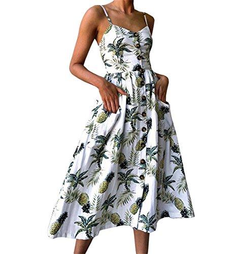 JIANLANPTT Sexy Spaghetti Strap V-Neck Pineapple Print Dresses for Women Floral Midi Dress White L=US M