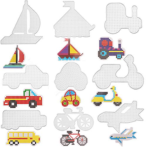 MAMUNU 9 Pieces Fuse Beads Pegboards, Different Car Shapes Clear Plastic Fuse Beads Pegboards Beads Boards Template Set for Kids Craft Beads 5 mm