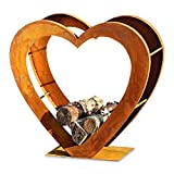 Whole House Worlds The Firewood Holder, Heirloom Heart, Log Storage, Rustic Artisinal Design, Made by Hand, Iron, Lacquer Sealed Oxidized Finish, 29 L x 11 W x 28 H Inches, By