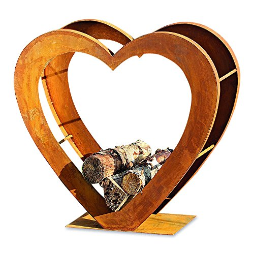 Whole House Worlds The Firewood Holder, Heirloom Heart, Rustic Artisinal Design, Made by Hand, Iron, Lacquer Sealed Oxidized Finish, 29 L x 11 W x 28 H Inches, By by Whole House Worlds