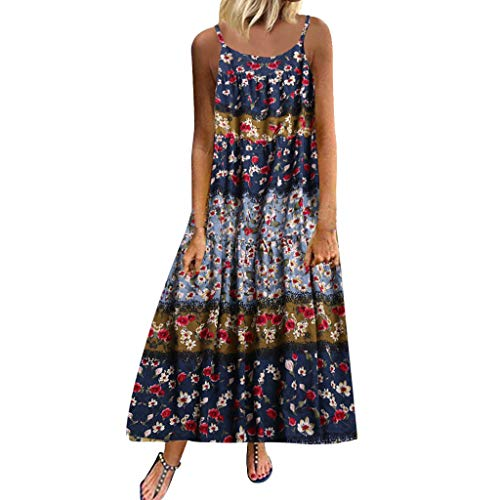 Yucode Women's Floral Printed Sleeveless O-Neck Swing Long Cami Maxi Dresses Casual Sundress Summer Dress