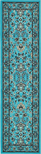 Unique Loom Kashan Collection Traditional Floral Overall Pattern with Border Turquoise Runner Rug (2' 7 x 10' 0) (Turquoise Stair Carpet)