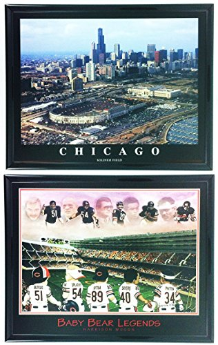 (Chicago Bears Legends Framed Print with Old Soldier Field Aerial Stadium Set of 2 LL5011)