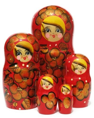 Autumn Nesting Dolls (5pc) 7H in Red by GreatRussianGifts