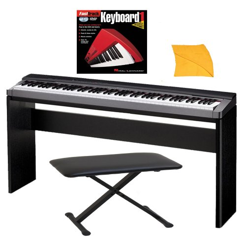 Casio PX150 88-Key Touch Sensitive Privia Digital Piano with Tri-Sensor Scaled Hammer Action (Black) with Stand, Padded Bench, Music Instruction Book 1 (Fasttrack Series) and Zorro Sounds Piano Polishing Cloth