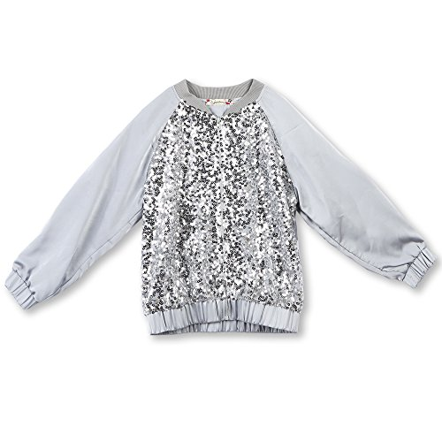 Speechless Girls' Big Sequin Front Lightweight Jacket, Grey, L