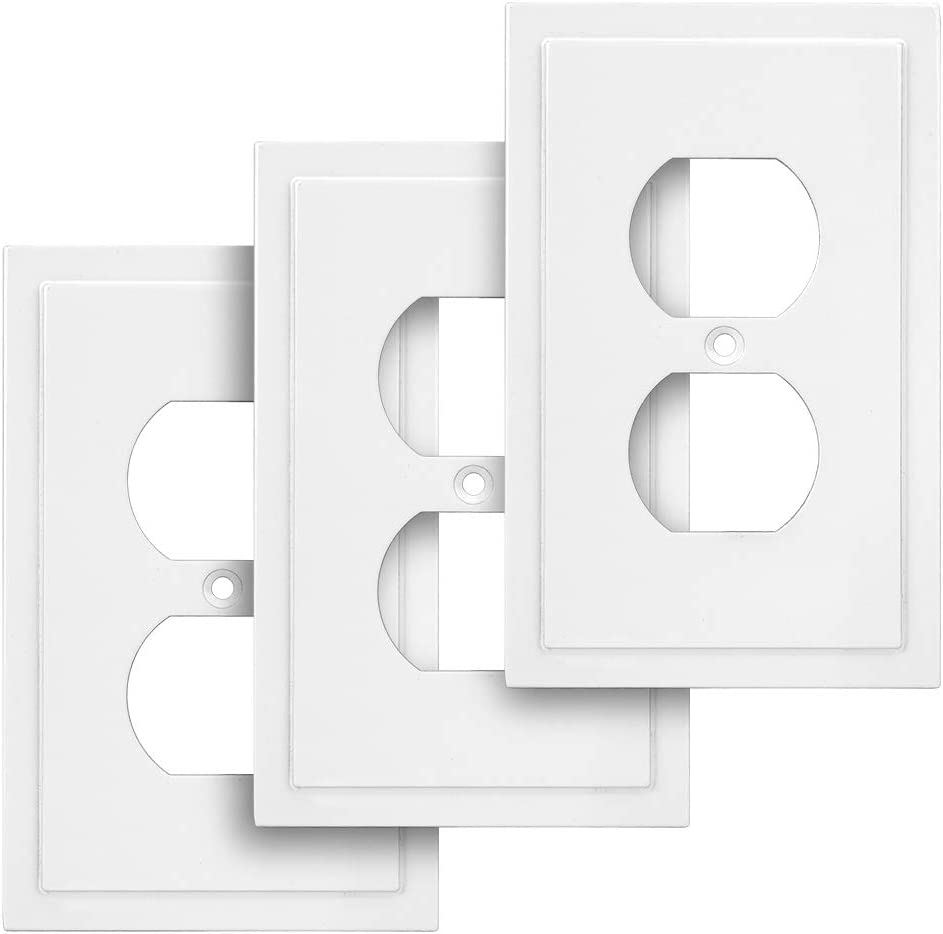 Modern Edge Decorative Wall Plate Switch Plate Outlet Cover, Durable Solid Zinc Alloy (Single Duplex, 3 Pack, White)