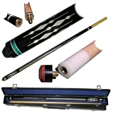 2 Piece Hardwood White Diamond Design Pool Stick Cue - With Carrying Case!