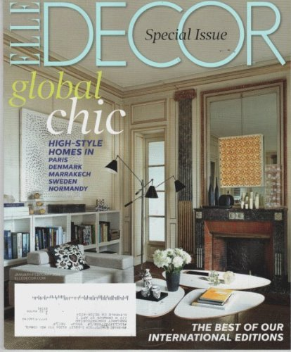 Elle Decor 2014 January/february - Cover: The Living Room of the Paris Apartment of Elle Decoration France Editor Sylvie De Chiree and Her Husband, Furniture Deale, Phillippe Rapin