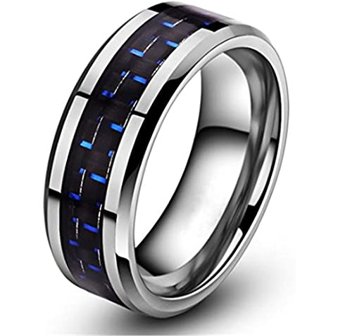 King Will 8mm Tungsten Carbide Wedding Band Ring Blue & Black Carbon Fiber Inlay Engagement Size12